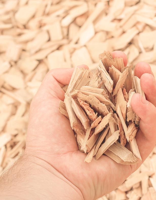 Wood chips drying