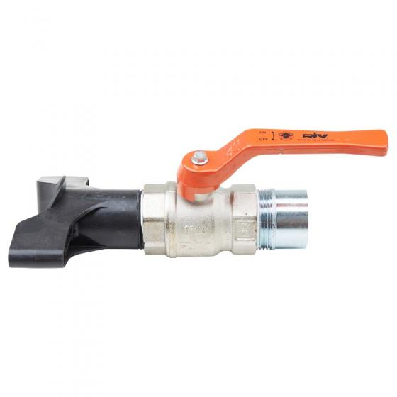 """""""Outlet fitting with ball valve 1 1/4"""""""" pre-assembled"""""""
